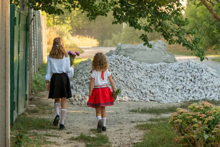 two little girls go to school in the village with bouquets of flowers, back view Standard-Bild