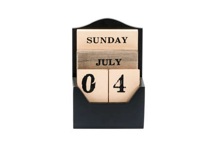 wooden calendar with date of independence day