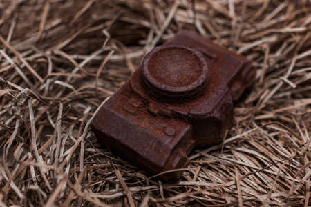 The edible noname nobrand chocolate camera present Stock Photo