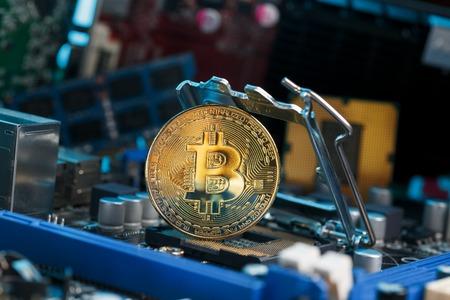 Gold Bitcoin placed on electronic computer processor board PC Foto de archivo