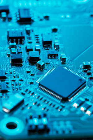 Electronic circuit board close up. Processor, chips and capacitors. Inside computers Stok Fotoğraf