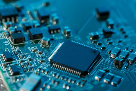 Electronic circuit board close up. Processor, chips and capacitors. Inside computers 版權商用圖片