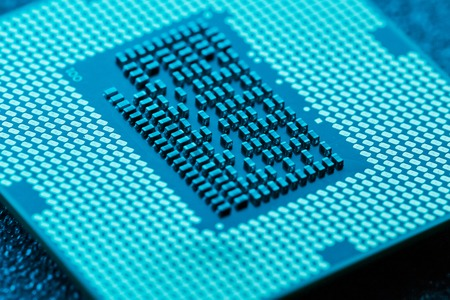 Close-up of CPU Chip Processor. Selective Focus. 免版税图像