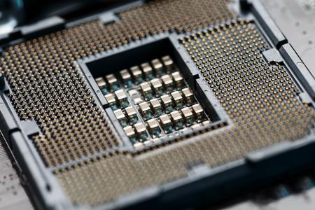 Macro CPU socket.CPU socket The main components of a computer. Motherboard socket Banque d'images