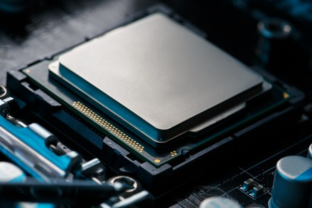 Close-up of CPU Chip Processor. Selective Focus. Banque d'images
