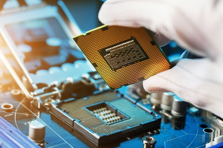 Electronic engineer of computer technology. Maintenance computer cpu hardware upgrade of motherboard component. Pc repair, technician and industry support concept. Stok Fotoğraf