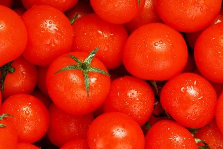 Lots of fresh ripe tomatoes with drops of dew. Close-up background with texture of red hearts with green tails. Fresh cherry tomatoes with green leaves. Background red tomatoes
