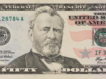 Portrait of former U.S. president Ulysses Grant. macro from 50 dollars bill Stock fotó