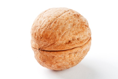 Walnut on white isolated background, clipping path, full depth of field. close up. Stock Photo