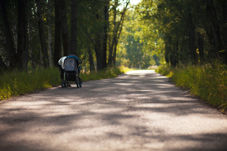 A young mother and a child in a stroller are walking in the park. Walking with the family in nature, in the fresh air. Beautiful and happy woman