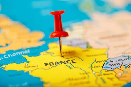 The location of the destination on the map of France is indicated by a red pushpin. France marked on the map with a red button
