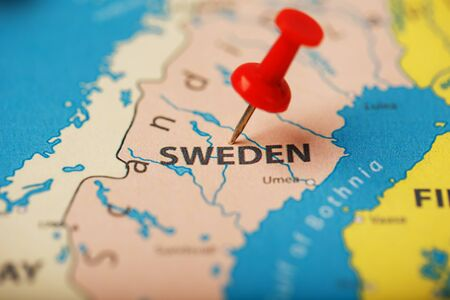 The location of the destination on the map Sweden is indicated by a red pushpin. Sweden is marked on the map with a red button
