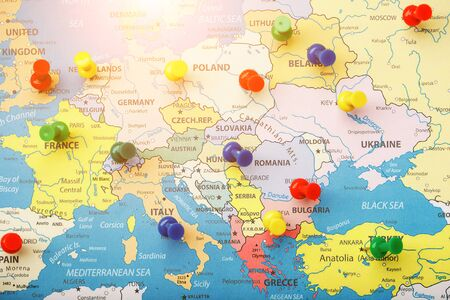 The multi-colored buttons indicate the location and coordinates of your destination on the Map of the Country. Concert button indicates countries and cities of Europe