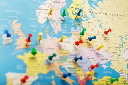 The multi-colored buttons indicate the location and coordinates of your destination on the Map of the Country. Concert button indicates countries and cities of Europe Stock Photo
