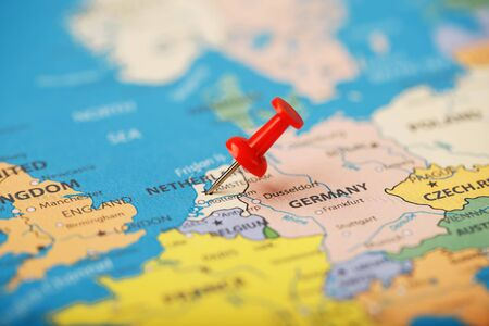 The location of the destination on the map of France is indicated The location of your destination on the NETHERLANDS map is indicated by a red pushpin. NETHERLANDS marked on the map with a red buttonby a red pushpin. France marked on the map with a red button