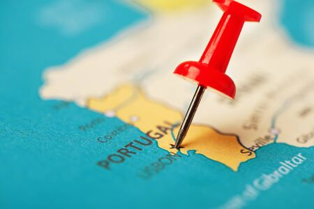 Multi-colored buttons indicate the location and coordinates of the destination on the map of Portugal. Concert button indicates countries and cities of Europe