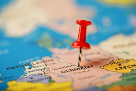 The red button indicates the location and coordinates of the destination on the map of the country of Germany. Concert button indicates the country and city of Germany