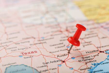 Map Of Usa Texas.Red Clerical Needle On A Map Of Usa Texas And The Capital Austin