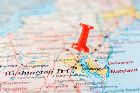 Red clerical needle on the map of USA, South Washington, DC and the capital of Richmond. Close up map of DC with red tack, map of United States USA
