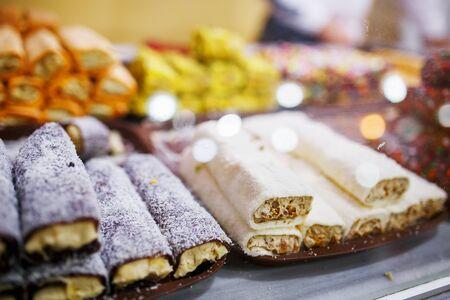 Eastern sweets, confectionery on the counter, Sherbet, Dzhezerye, halva, Turkish delight baklava. Istanbul the capital of Turkey