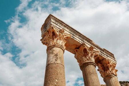 Columns The ruins of the ancient city of Ephesus against the blue sky on a sunny day. Turkey 写真素材