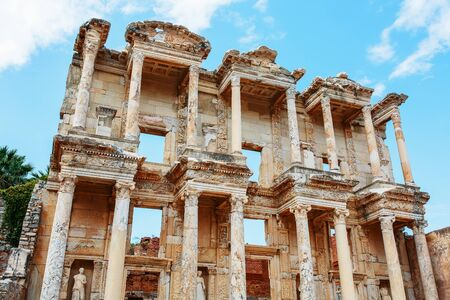 Celsus libraries against the blue sky in Ephesus, Turkey. Bottom up view