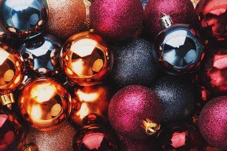 Colorful Christmas balls close up as background. Full screen, New year and Christmas concert