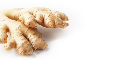 Fresh ginger root on a white background, isolate.