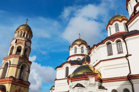 New Athos, Abkhazia, January 01, 2020. Facades of the Church of the new Athos monastery near the Cathedral of St. Panteleimon. Abkhazia