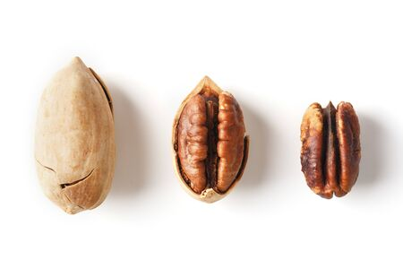 Set of three pecans in the center in a shell, peeled and without a shell isolated on a white background in a row. Close-up, top view 版權商用圖片