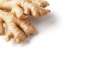 Fresh ginger root on a white background, isolate. Ginger pharmacy. Z ngiber officin le