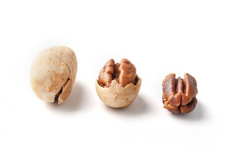 Set of three pecans in the center in a shell, peeled and without a shell isolated on a white background in a row. Close-up, top view Reklamní fotografie