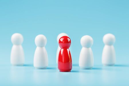 The leader in red leads a group of white employees to victory, HR, Staff recruitment. The concept of leadership. A lot of employees are reaching for their boss. Personnel selection.