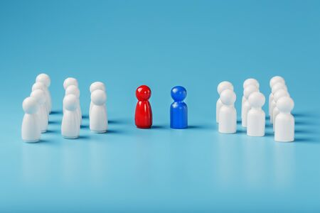 The conflict between two companies and a business, the rivalry of Leaders in blue and red leads a group of white employees to compete, Staff recruitment. A lot of employees are reaching for their boss. Personnel selection. 版權商用圖片