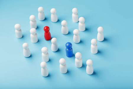 Choosing a sexual partner for love, relationships from such a crowd of monotonous people. A red woman and a blue man in a crowd of white people. The concept of choice in society