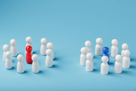 Two different Groups of white people stand around the blue and red leadership candidates separately. Competition in business between the firms and the teams. The concept of the leader of the business team.