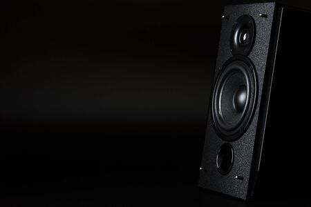 Audio speaker system on a black background. Minimalistic concept, free space