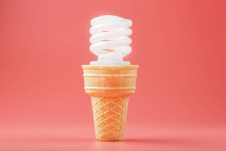 Energy-saving screw Light ice cream in a waffle cone on a pink background. Minimalistic concept of a delicious idea.