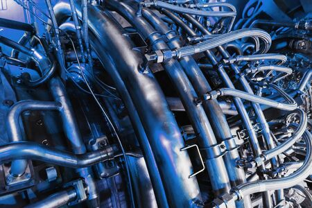 Gas turbine compressor for power generation on the offshore platform of Central oil and gas processing. In a monochromatic blue color
