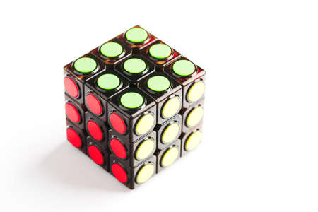 Krasnodar, Russia-June 11, 2020: Rubik's Cube Concept puzzle with round segments isolated on a white background. Isolate, free space