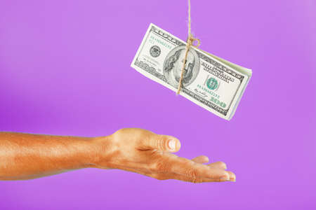 Money on a rope above the palm on a pink background.