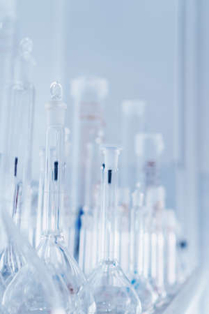Laboratory tubes and flasks for analyzes and experiments. Science tool, chemical laboratory.