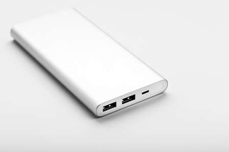 Gray Power Bank on white background free space