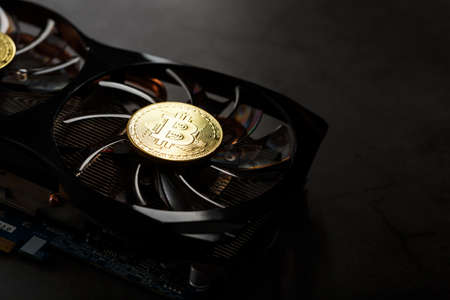 Video card with a gold coin Bitcoin on the cooler close-up. The concept of mining and mining of cryptocurrency, the device of a cryptocurrency farm.