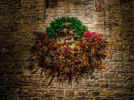 Advent wreath on the wall of Ghent castle Editorial