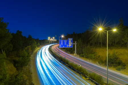 Landscape photo of the ring road of Thessaloniki at the night Stock Photo
