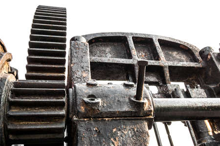 outworn: part of old rusty machine isolated on white background