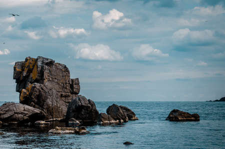 sea view with rock cliff in sozopol, bulgaria