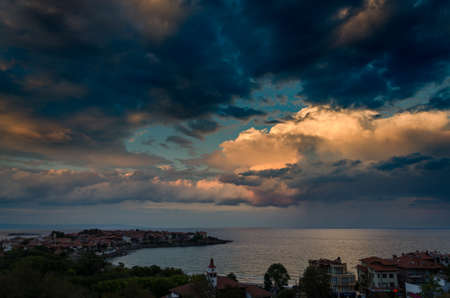 dramatic clouds over the sea at sunset in sozopol, bulgaria