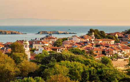 sunny summer morning in small town on peninsula, sozopol, bulgaria
